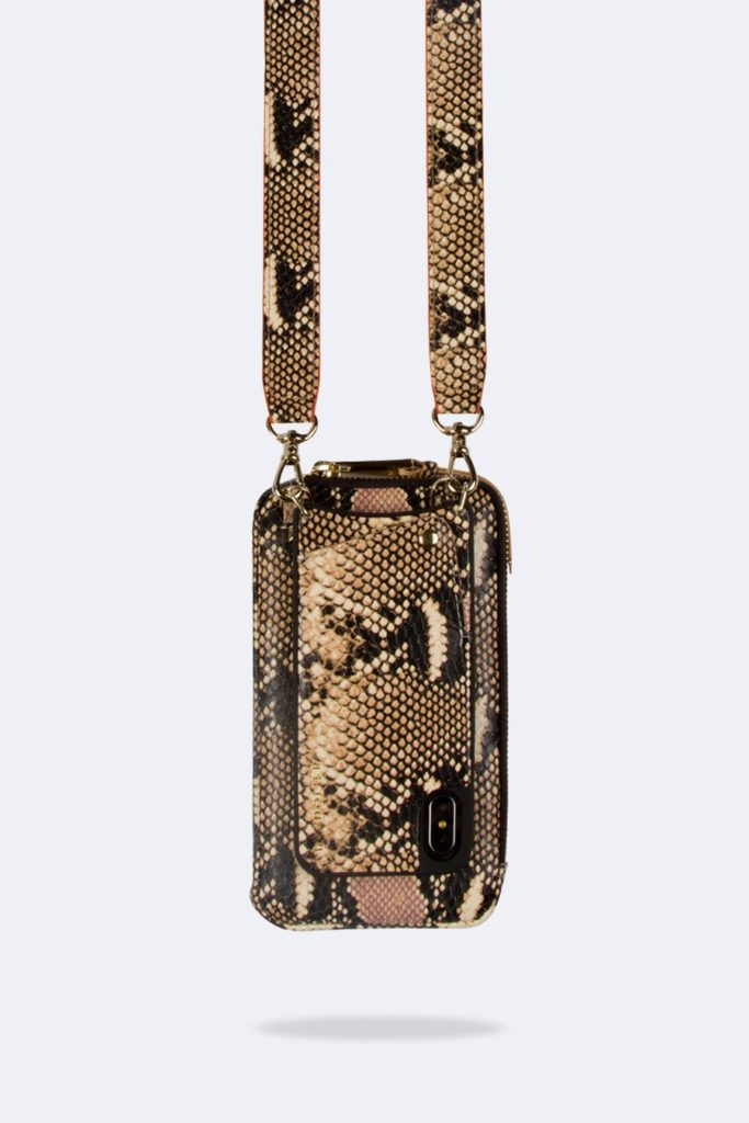 New Bandolier crossbody iPhone holder with pouch in faux snake skin