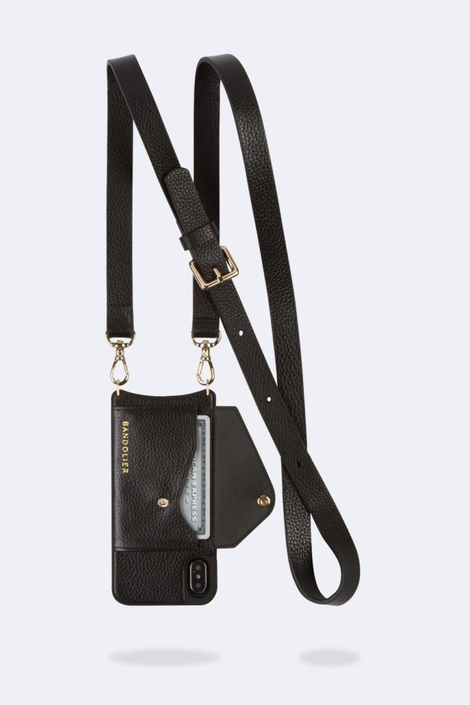 Bandolier phone crossbody with a side slot credit card case
