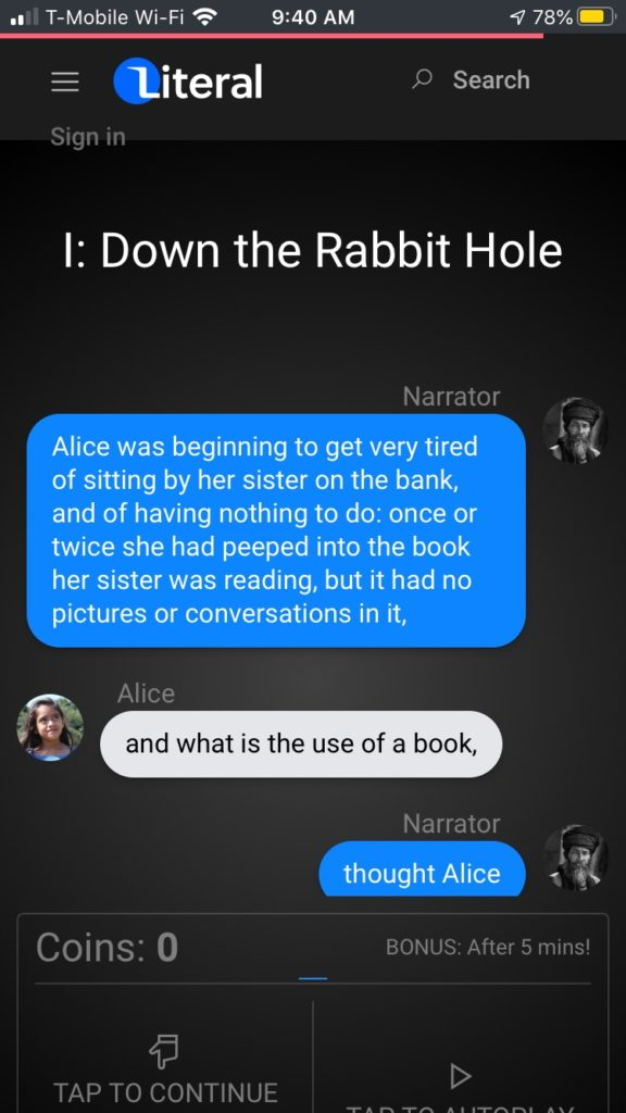 Literal: An Addictive Reader app turns books into a group text format, making it ideal for middle school readers