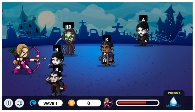 5 fun typing games for kids: Learn where letters are on the keyboard with Vampire Hunter.