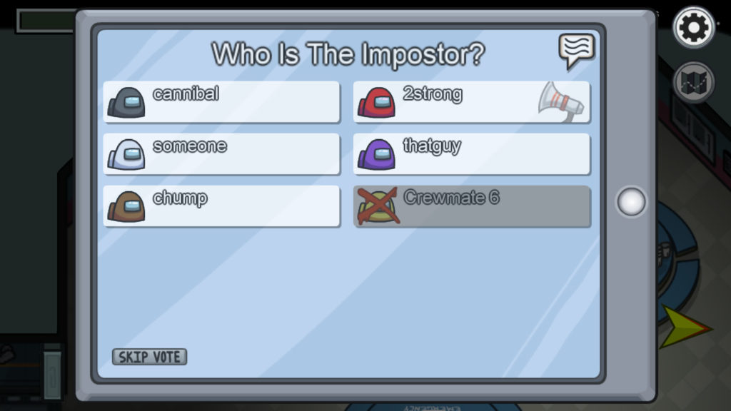 Voting on the Imposter in the Among Us multiplayer game for kids