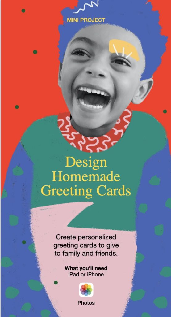 Kids can easily design their own homemade greeting cards with Apple's free Make Your Holiday project book download | Learn more: CoolMomTech.com