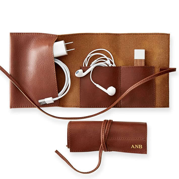 Tech gifts under $50: Leather cable roll-up