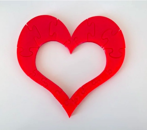 3D printed heart puzzle for kids by NL Royalty for Valentine's Day