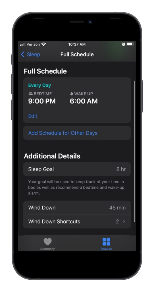 Cool features of Apple Health: The sleep schedule helps you stay on track with sleep goals.