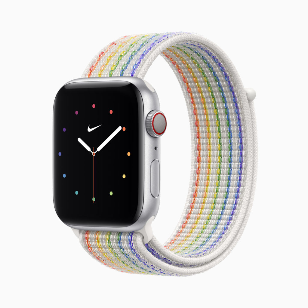 Apple Watch Pride 2021 Nike Sports Loop Watch Band and new rainbow face
