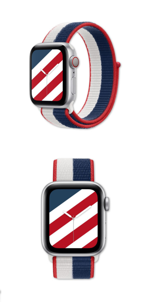 In time for the Olympics, the new USA Apple Watch International Sports Bands coordinate with matching Apple Watch Faces. Lots of countries to choose from