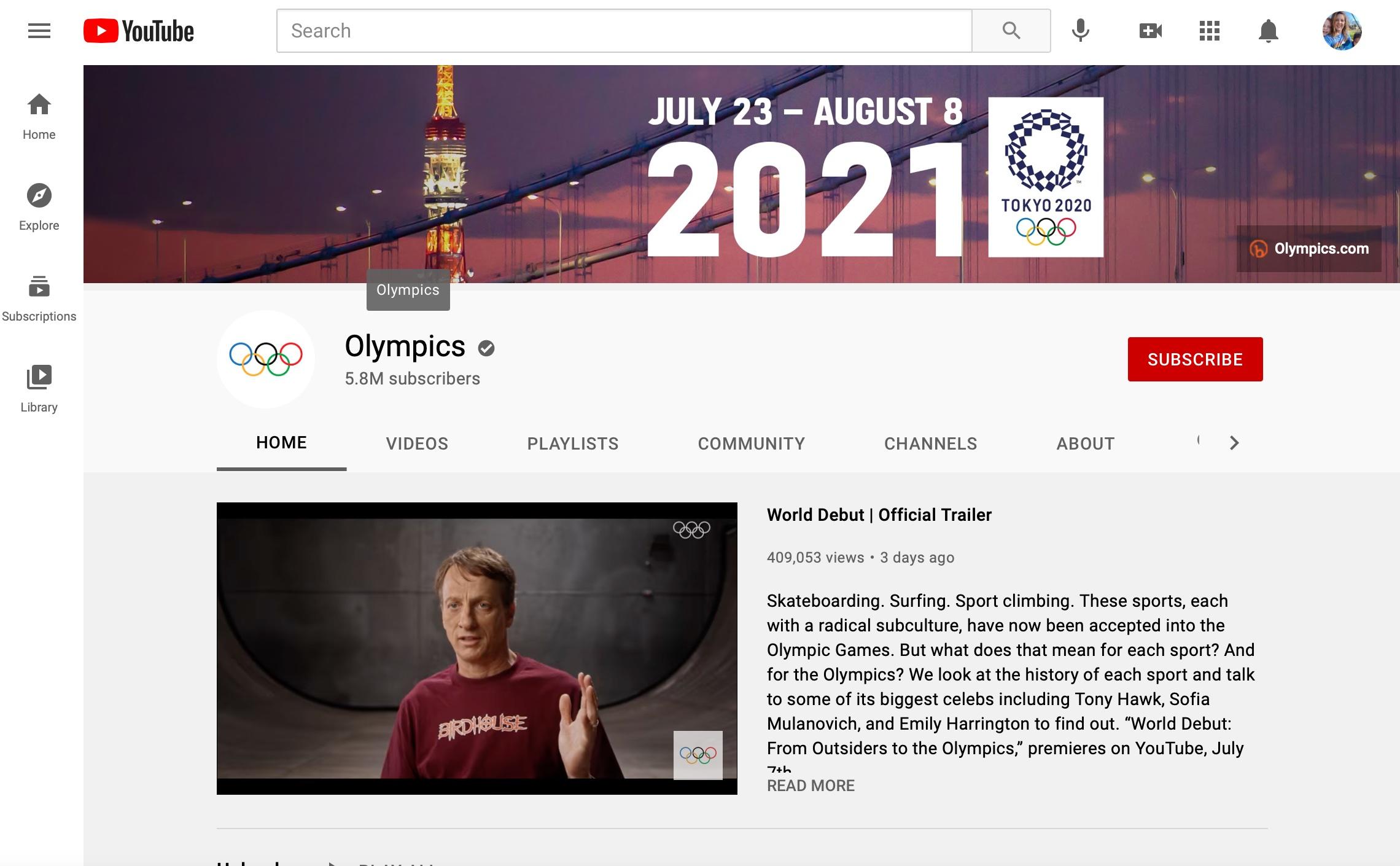 Stream the 2020 Tokyo Olympics on YouTube