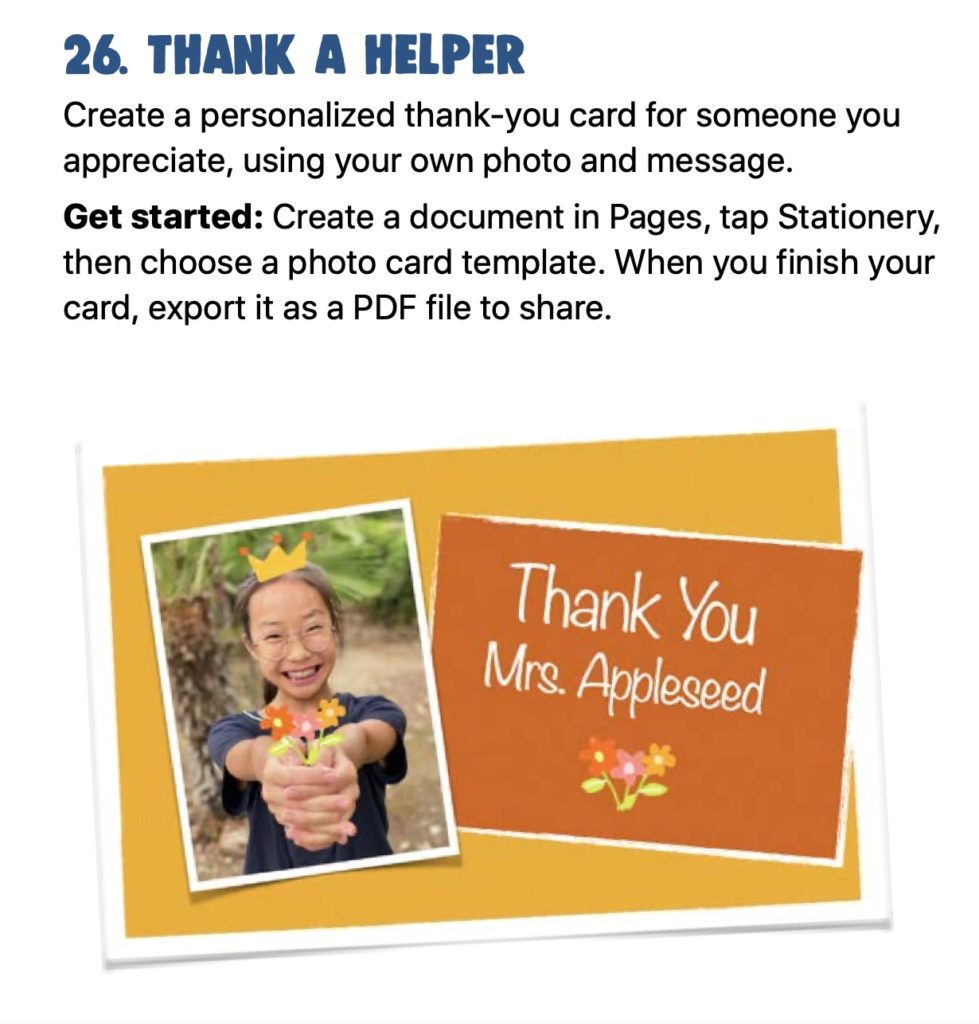 30 free activity ideas for kids from Apple: How to create photo cards to thank someone you appreciate