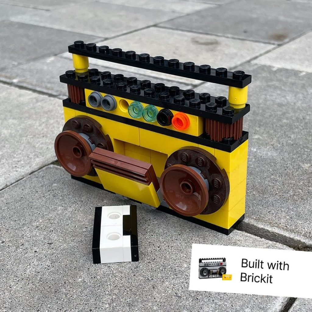 Use the Brikit app to figure out what to build with the LEGO bricks you have -- like this boombox!