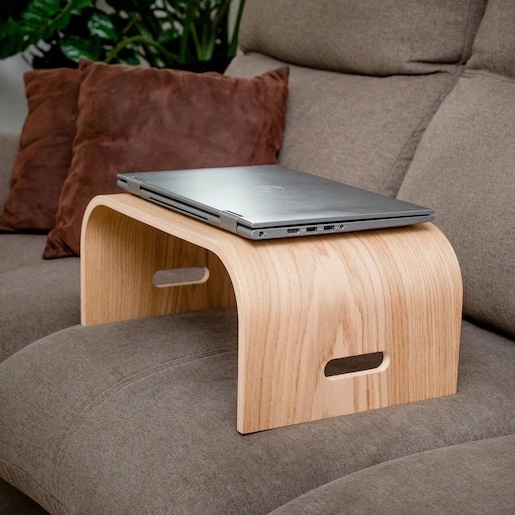 Ergonomic laptop accessories: This handmade wooden lap stand helps if you work from bed or the couch